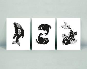 3 Cards A6 Illustration - La Baleine   - Baleines  - Koï