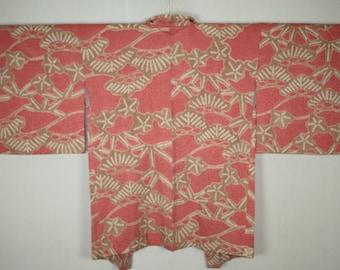 Japanese vintage  Gorgeous and impressive soft silk shibori Tie-dye haori jacket of  red Graceful paulownia pattern