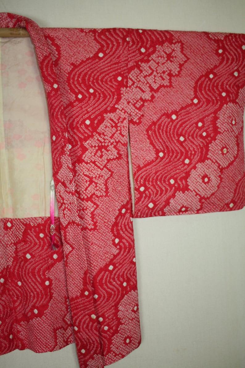 Japanese vintage Charming soft Pink red silk haori jacket of  beautiful  shibori Tie-dye
