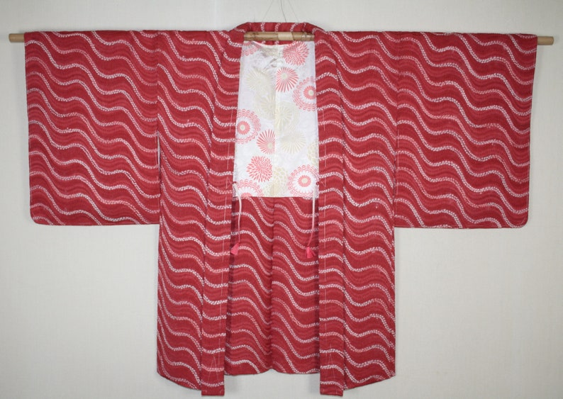 and Woven pattern haori jacket of Orange pink Japanese vintage silk Elegant and  beautiful hand shibori Tie-dye