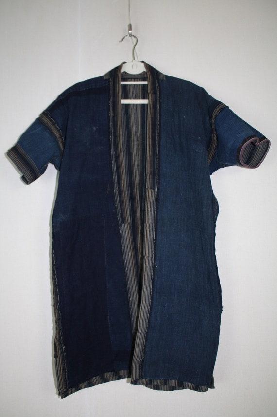 Boro noragi jacket of stripe  indigo dye cotton ,