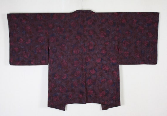 Japanese vintage beautiful  exotic silk haori coat jacket  of aoi leaves and arabesque pattern Light beige brown background