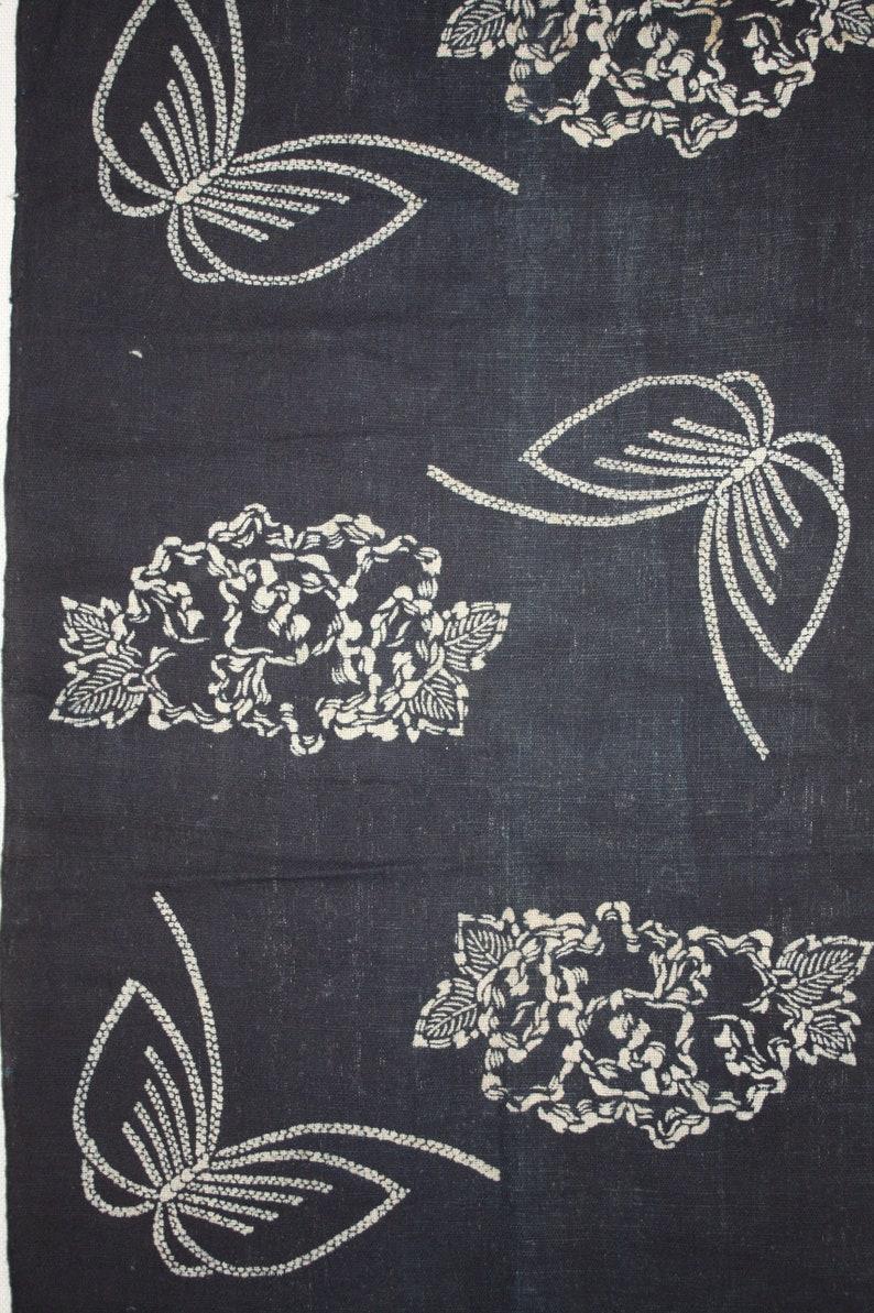 Japanese vintage Folk art fabric of thick  handspun /& natural indigo dye cotton tsutsugaki