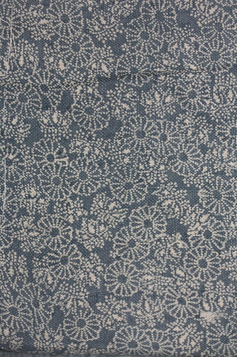Japanese antique indigo dyeing silk and cotton tsumugi kimono of katazome pattern of  Chrysanthemum and paulownia flower of the edo era