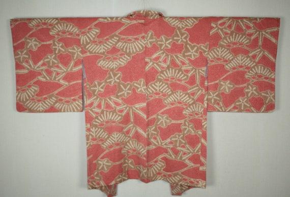 soft silk haori jacket Tie-dye Japanese vintage shibori
