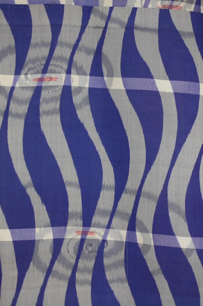 Japanese vintage silk Charming meisen kimono of Blue running water and swirl pattern