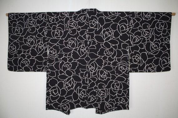 unique vintage piece and second hand silk Kimono Haori black women/'s jacket pattern Decorative bridges