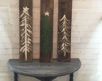 Christmas tree paintings, reclaimed pallet wood, holiday decor