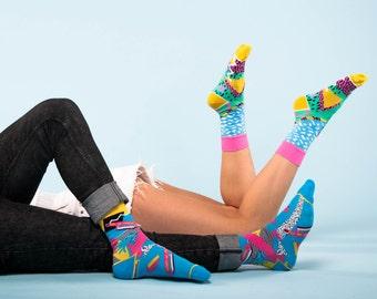WHAM socks,  80s socks, palmtree socks, pattern socks for women, music socks, women's argyle socks, funky women socks, socks