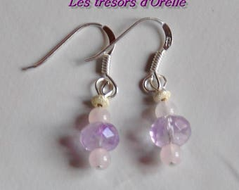 Romantic earrings Amethyst, rose quartz and silver