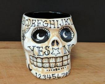 Shot glass // skull shot // hand painted // ceramic // one of a kind // Ouija board // scary // functional // shots // large shot glass