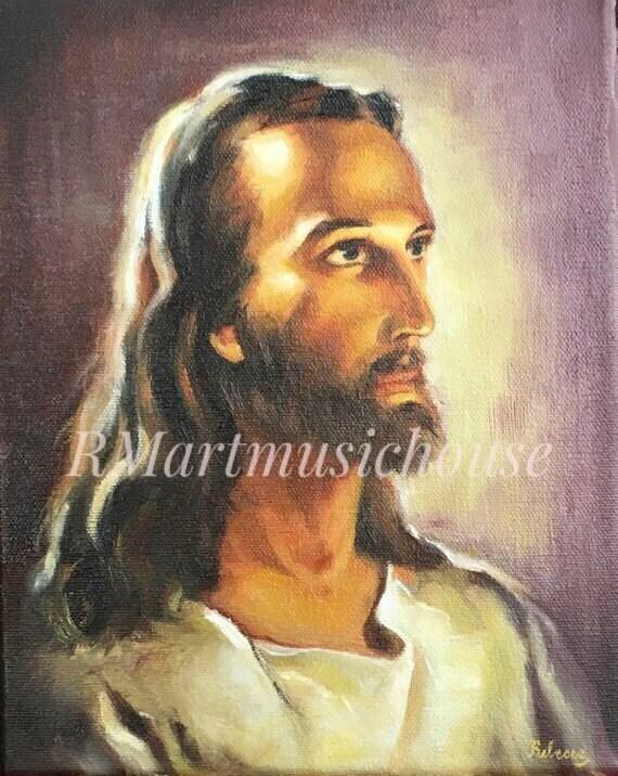 100 Handmade Small Oil Painting Head Of Jesus Christ Etsy