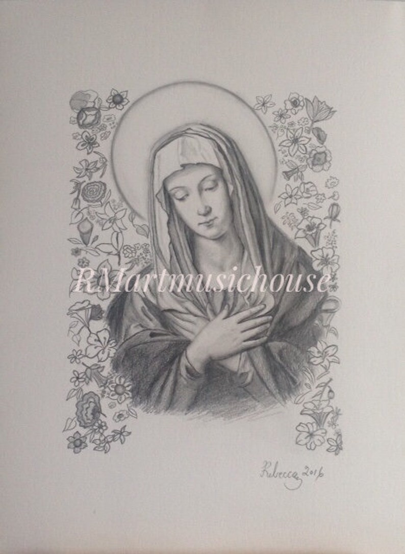 100 handmade madonna in prayer pencil drawing portrait of saint catholic drawing religious art mother mary ave maria sassoferrato