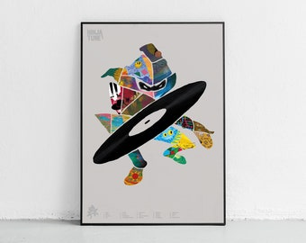 Ninja Tune Poster Coldcut Amon Tobin Music Poster DJ Poster  Poster Music Wall Decor Turntable Poster Trip Hop Poster