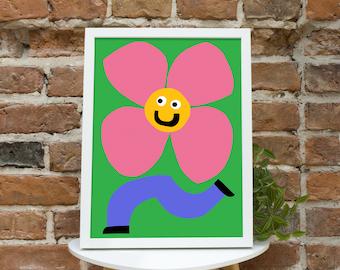 Flower Print Flower Giclee Print Flower Wall Art Flower Poster Flower Wall Decor Childrens Flower Illustration