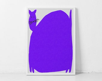 Chunky Cat Poster Cat Wall Art Fat Cat Wall Decor Purple Cat Print