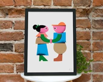 Boy + Girl Giclee Print Love Illustration Boy & Girl Wall Art Love Wall Decor Childrens Illustration Kids Room Illustration