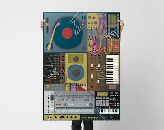 Jam Session Poster Instruments Poster Instrument Illustration DJ Poster Music Illustration Instrument Print Music Print Music Art MPC
