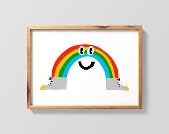Rainbow in Sneakers Giclee Print Rainbow Illustration Rainbow Wall Art Rainbow Wall Decor Childrens Illustration Kids Room Illustration