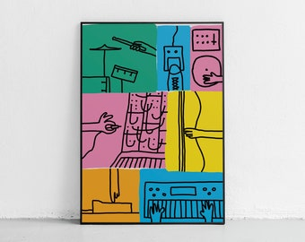 Music Band Poster Instruments Poster Music Prints Synthesizer Poster DJ Poster Music Illustration Synth Print Drums Print Music Art MPC