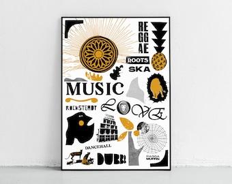 Reggae Poster Dub Print Dancehall Poster Rocksteady Poster Roots Print Ska Ragga Muffin Poster Reggae Print Reggae Wall Art