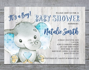 Baby Shower Invitation Elephant Etsy