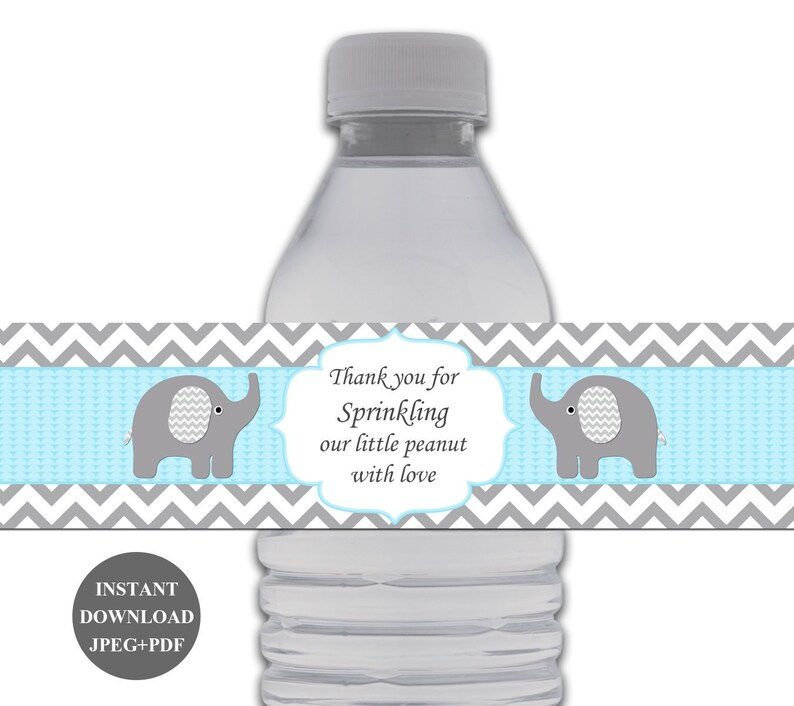 Boy Baby Shower Water Bottle Labels Baby Shower Water Bottle Labels  Printable Bottle Label Thank You for Sprinkling Our Little Peanut (49D2)