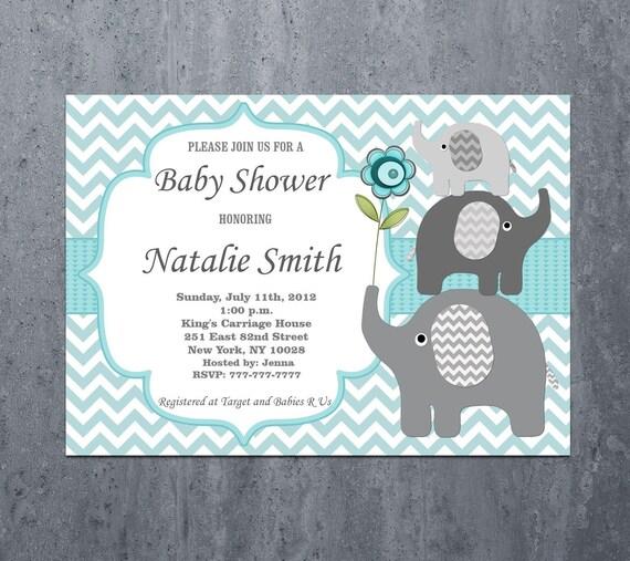 Boy Baby Shower Invitations Boy Elephant Baby Shower Etsy