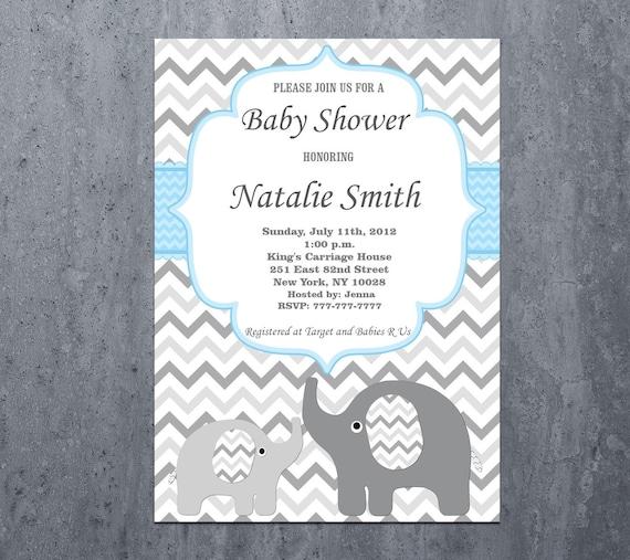 Baby Shower Invitations Boy Elephant Printable Baby Boy Etsy
