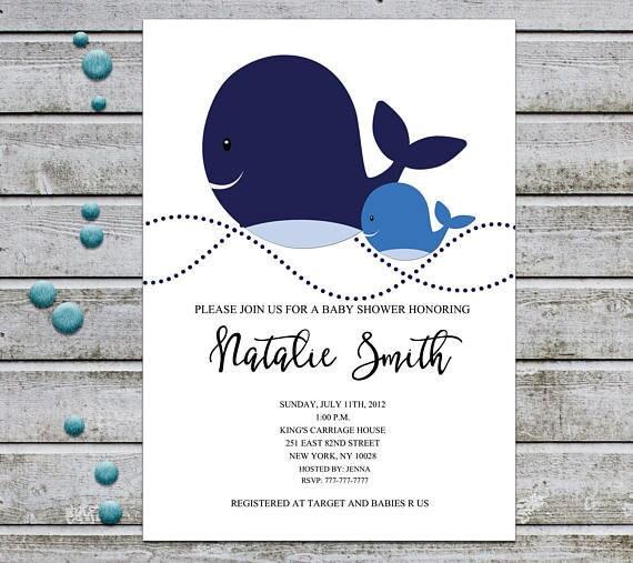 Whale Baby Shower Invitation Boy Boy Baby Shower Invitation Etsy