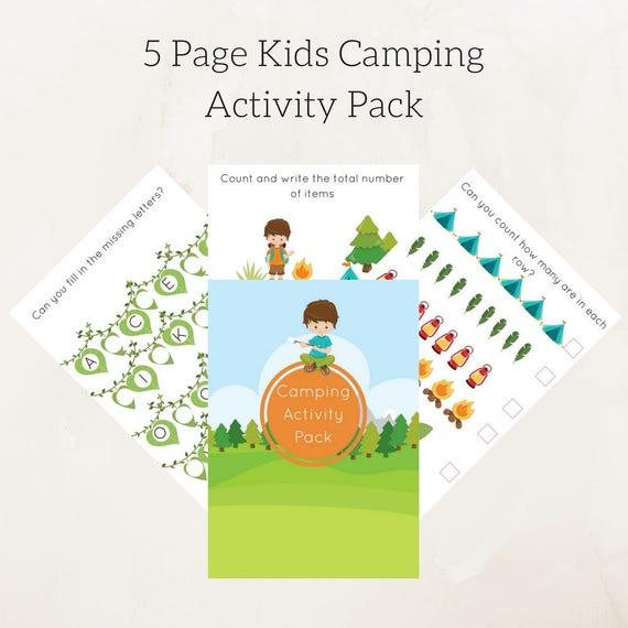 Educational printables , Camping kids games Worksheets Activities