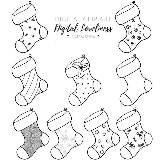 christmas stockings digi stamp commercial use instant