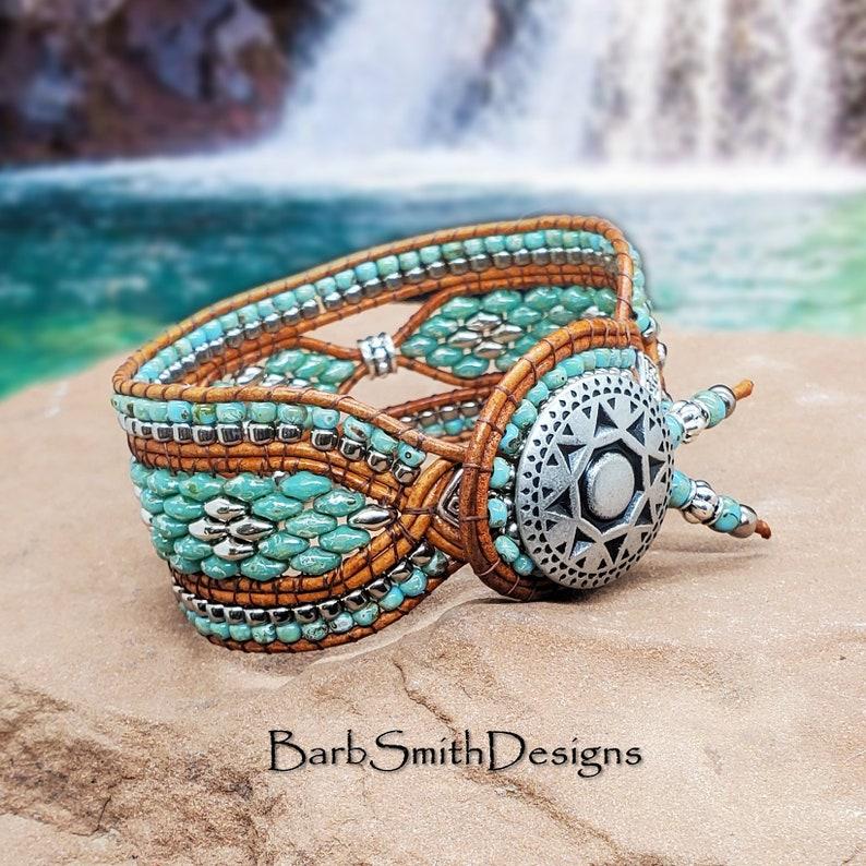 PTG Size 7 14 Southwest Turquoise Silver Bracelet-Light Brown Leather-Leather Wrap Bracelet-Beaded-Boho-Tribal-The Sundancer