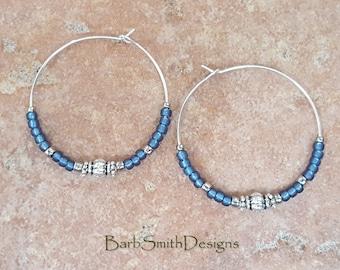 "Beaded Frosted Denim Blue and Silver Hoop Earrings, Large 1 3/8"" Diameter (FRD)"