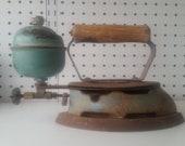 Vintage Antique Coleman Steam Iron Blue Porcelain