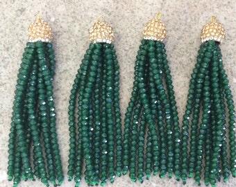 Emerald Green Tassel,cotton tassel,triangle tassel pendant,earring tassels 6 Pieces VC23# Fashion Jewelry Making Supply