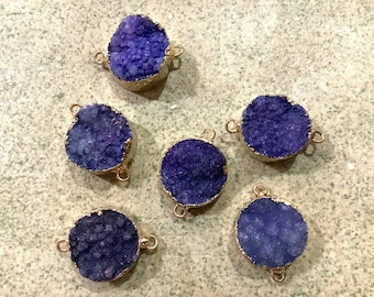 1 pc purple violet druzy connector gold electroplate  boho jewelry making supplies. Beaded tassel co. Wholesale bulk. Bohemian style