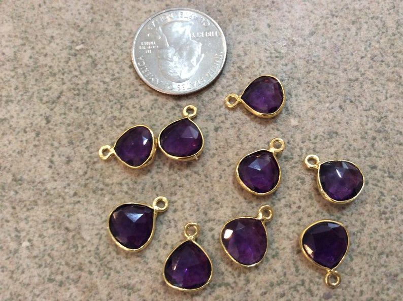 purple glass brass teardrop small charm boho jewelry making supplies