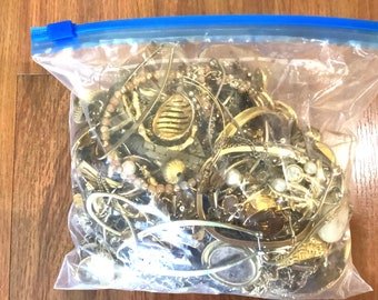 MYSTERY gold tone JEWELRY grab bag  3 LBS!! Gold  Treasure Box Jewelry Lot   Broken Jewelry for Crafts Bulk Jewelry   Bulk Jewelry wholesale