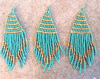 1 pc seed bead flat tassel boho fringe turquoise gold handmade India jewelry making supplies earrings