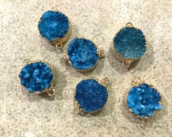 1 pc blue druzy connector gold electroplate  boho jewelry making supplies. Beaded tassel co. Wholesale bulk. Bohemian style