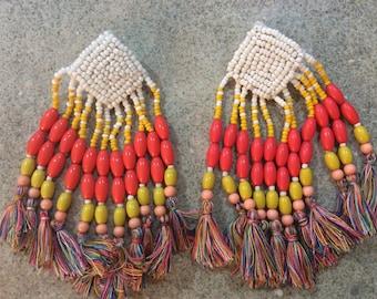 1 pair seed bead and tassel earrings, Bohemian earrings, orange yellow funky tassel earrings, statement earrings, boho jewelry, large