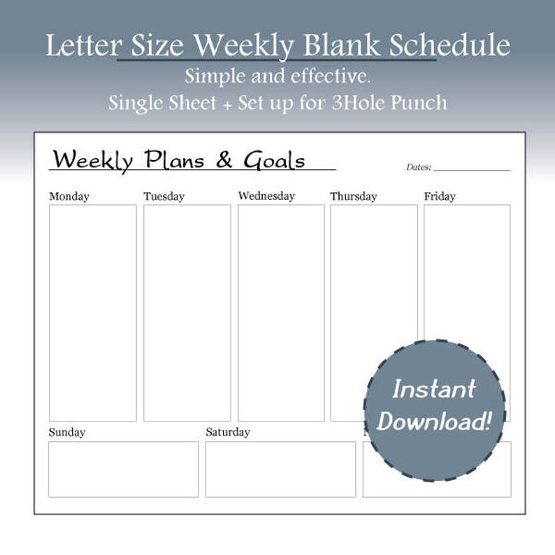 picture relating to Weekly Goal Sheet titled Uncomplicated Blank Weekly Planner, Weekly Targets, Developing, Targets, Landscape, Letter Dimensions, WO1P, Printable, Instand Obtain