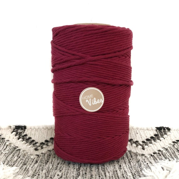Coloured Macrame Cord Single Twist 1kg VINO ROUGE || 100% Cotton Super Soft Lush Cord || Blush Pink Black Grey Khaki Brown Mustard Red Maroo