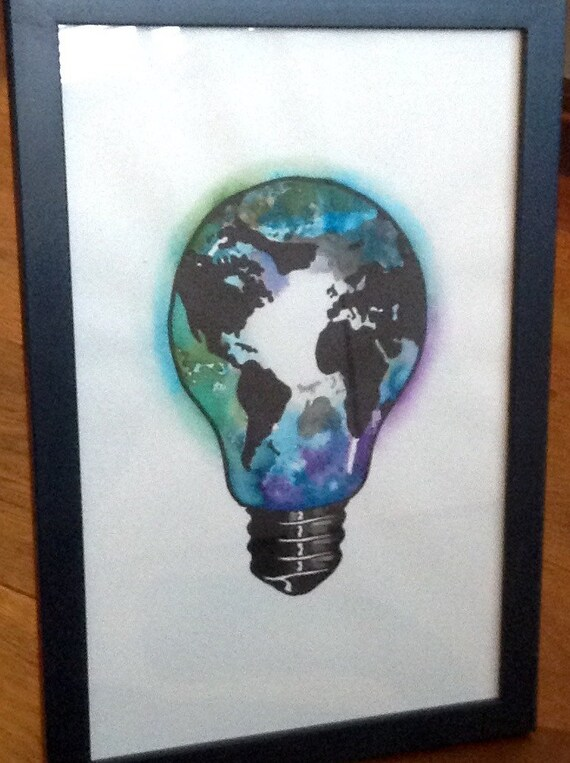 Original watercolor tattoo design world map in light bulb gumiabroncs Gallery
