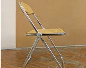 One Vintage Woven Wicker Walnut Castelli Plia Folding Chairs Chrome Modernist Mid Century Modern Retro Giancarlo Piretti Loft