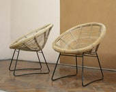 One Two Vintage Woven Bamboo Hoop Chairs Patio Terrace Wicker Cane Loft Metal Garden Loft Mid Century Modern Bohemian Eclectic Lounge