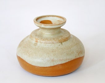 Small Vintage Ruscha Round Fat Lava Melting Orange Beige Ceramic Candle Holder Retro Mid Century Modern West German Pottery Art Candlestick