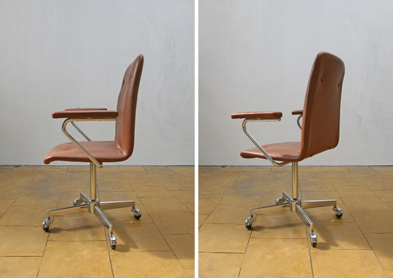 cuir Mid de fauteuil bureau Loft exécutif industriel ouest allemand espace rouille Vintage de Modern Bureau travail Studio pivotant Century brun rétro l1FTcKJ