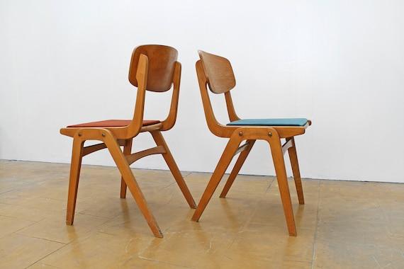 Super Vintage Polish Wooden Boomerang Desk Chairs Turquoise Blue Rust Red Velvet Modernist Retro Mid Century Modern Studio Loft Dining Teo Pair Theyellowbook Wood Chair Design Ideas Theyellowbookinfo